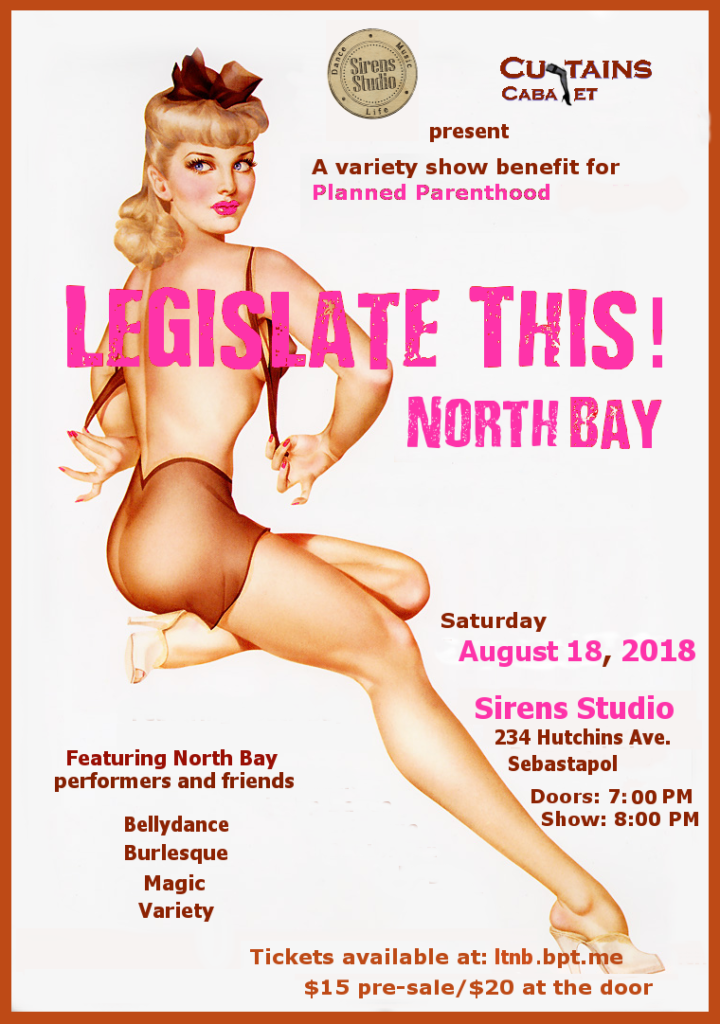 Event Flier for Legislate this, a planned parenthood benefit event at Sirens Studio